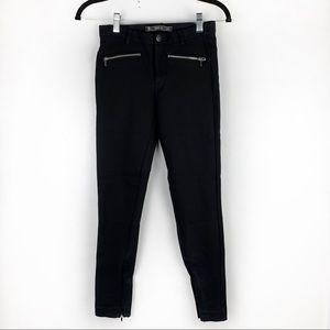 ZARA TRAFALUC Black Skinny Stretch Knit Pants Zip